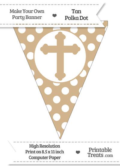 Tan Polka Dot Pennant Flag with Cross from PrintableTreats.com