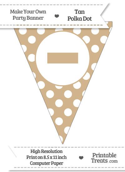 Tan Polka Dot Pennant Flag with Dash from PrintableTreats.com