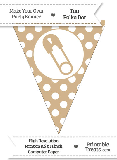 Tan Polka Dot Pennant Flag with Diaper Pin Facing Left from PrintableTreats.com