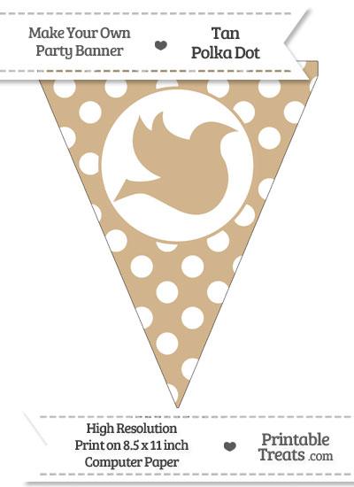 Tan Polka Dot Pennant Flag with Dove Facing Right from PrintableTreats.com