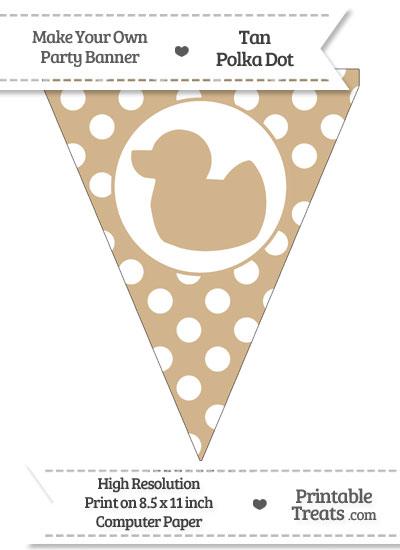 Tan Polka Dot Pennant Flag with Duck Facing Left from PrintableTreats.com