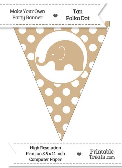 Tan Polka Dot Pennant Flag with Elephant Facing Left from PrintableTreats.com