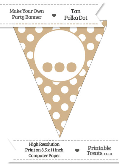 Tan Polka Dot Pennant Flag with Ellipses from PrintableTreats.com