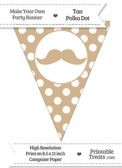 Tan Polka Dot Pennant Flag with English Mustache from PrintableTreats.com