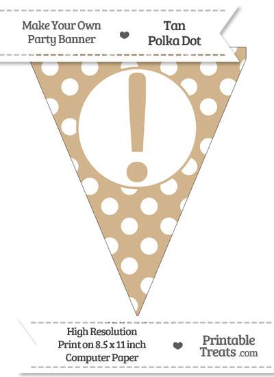 Tan Polka Dot Pennant Flag with Exclamation Mark from PrintableTreats.com