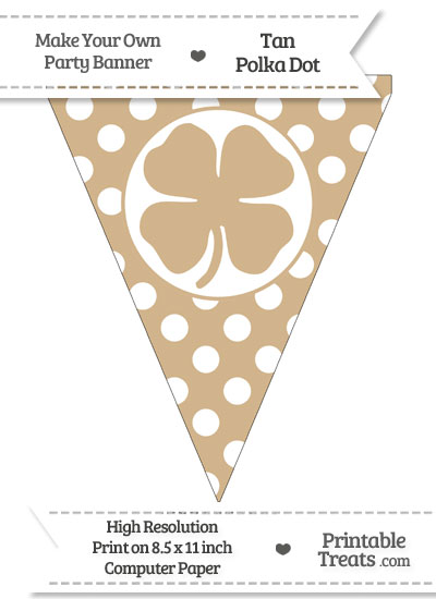 Tan Polka Dot Pennant Flag with Four Leaf Clover Facing Right from PrintableTreats.com