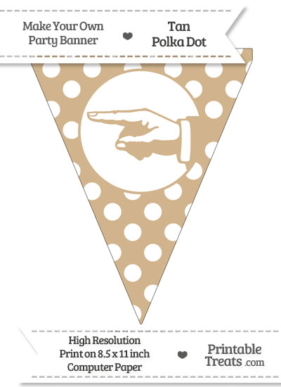Tan Polka Dot Pennant Flag with Hand Pointing Left from PrintableTreats.com