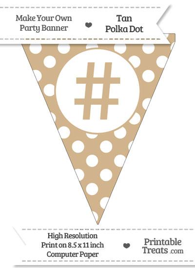 Tan Polka Dot Pennant Flag with Hash Character from PrintableTreats.com
