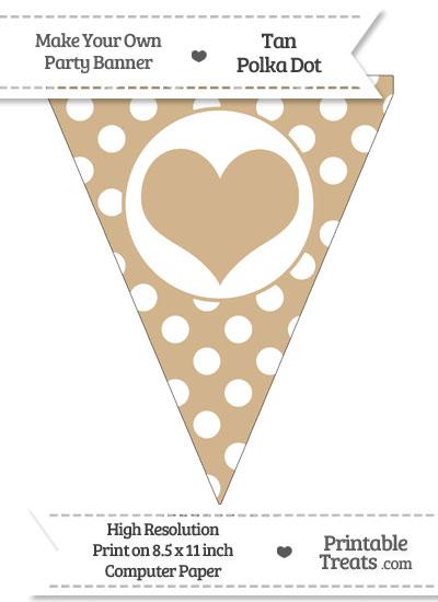 Tan Polka Dot Pennant Flag with Heart from PrintableTreats.com