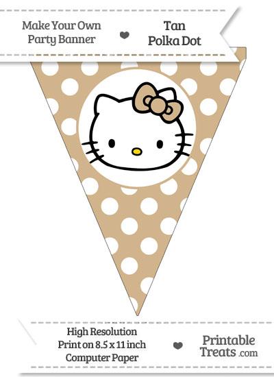 Tan Polka Dot Pennant Flag with Hello Kitty from PrintableTreats.com