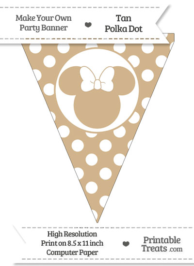 Tan Polka Dot Pennant Flag with Minnie Mouse from PrintableTreats.com
