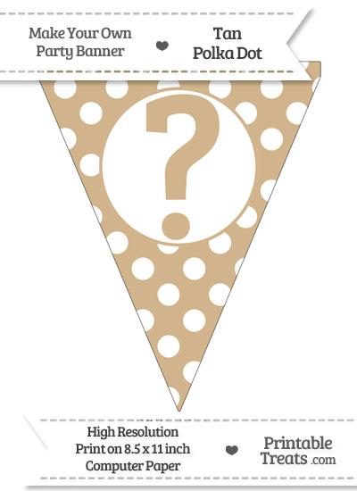 Tan Polka Dot Pennant Flag with Question Mark from PrintableTreats.com
