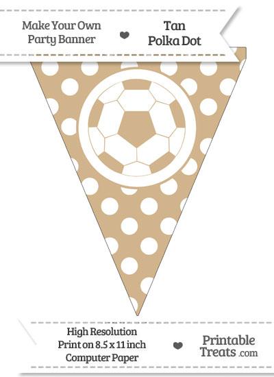 Tan Polka Dot Pennant Flag with Soccer Ball from PrintableTreats.com