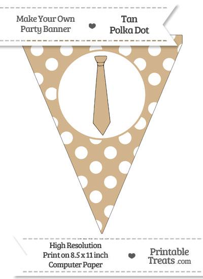 Tan Polka Dot Pennant Flag with Tie from PrintableTreats.com