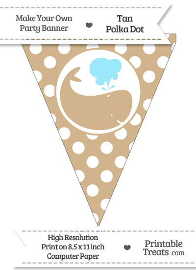 Tan Polka Dot Pennant Flag with Whale Facing Right from PrintableTreats.com