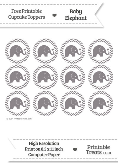 Taupe Grey Baby Elephant Chevron Cupcake Toppers from PrintableTreats.com