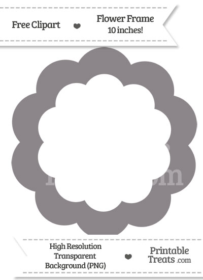 Taupe Grey Flower Frame Clipart from PrintableTreats.com