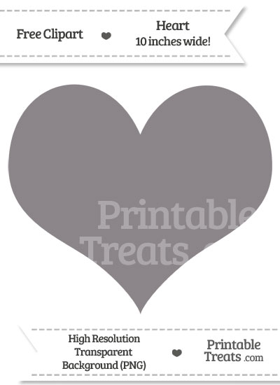 Taupe Grey Heart Clipart from PrintableTreats.com