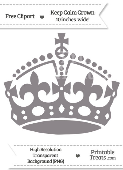 Taupe Grey Keep Calm Crown Clipart from PrintableTreats.com