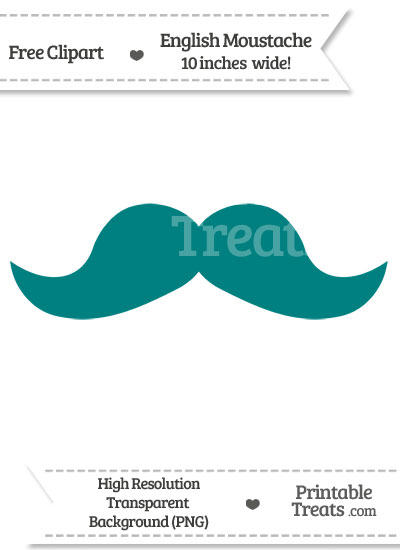 Teal English Mustache Clipart from PrintableTreats.com