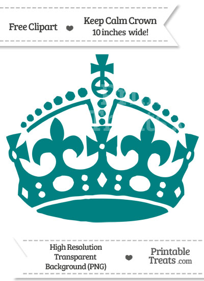 Teal Keep Calm Crown Clipart from PrintableTreats.com