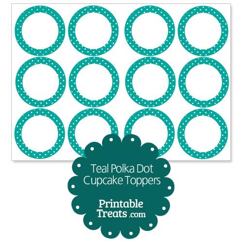 teal polka dot cupcake toppers
