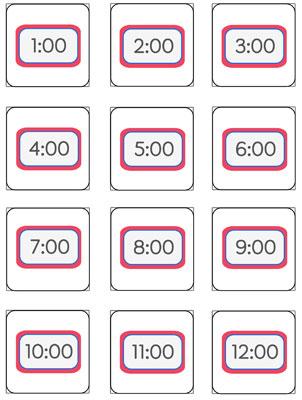 telling time memory game printable