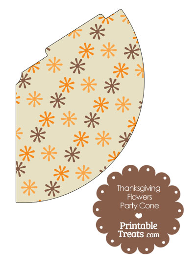 Thanksgiving Flowers Party Cone from PrintableTreats.com