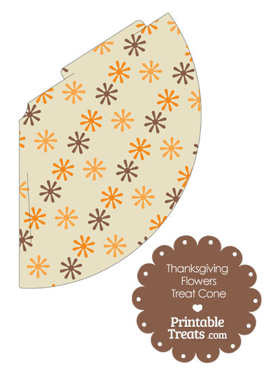 Thanksgiving Flowers Printable Treat Cone from PrintableTreats.com