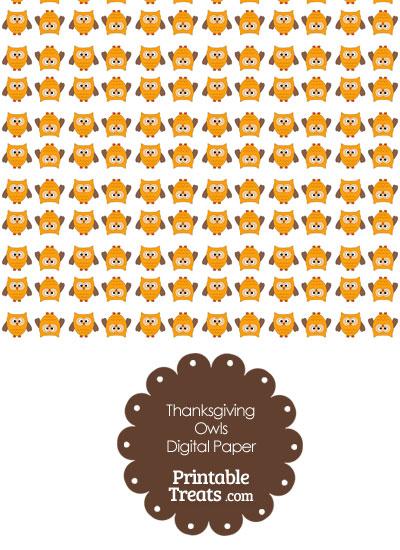 Thanksgiving Owls Digital Scrapbook Paper from PrintableTreats.com