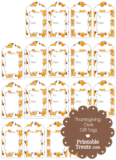 Thanksgiving Owls Gift Tags from PrintableTreats.com