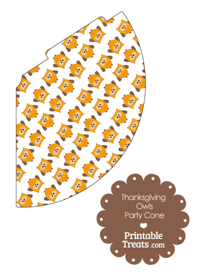 Thanksgiving Owls Party Cone from PrintableTreats.com