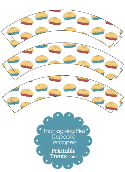 Thanksgiving Pies Cupcake Wrappers from PrintableTreats.com