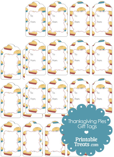 Thanksgiving Pies Gift Tags from PrintableTreats.com