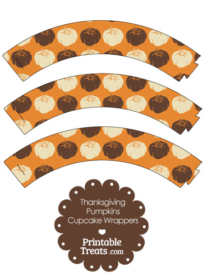 Thanksgiving Pumpkins Cupcake Wrappers from PrintableTreats.com