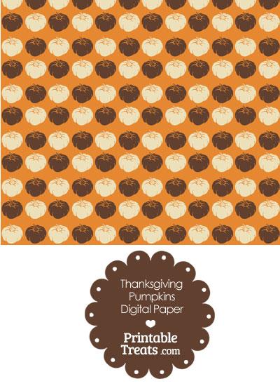 Thanksgiving Pumpkins Digital Scrapbook Paper from PrintableTreats.com