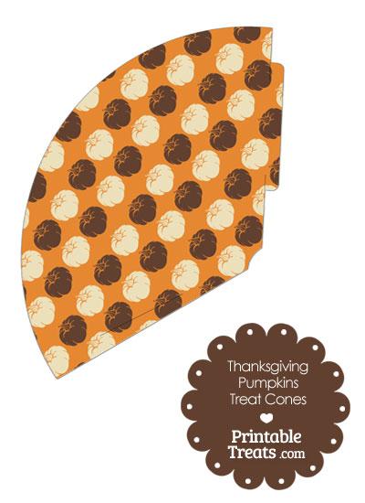 Thanksgiving Pumpkins Printable Treat Cone from PrintableTreats.com