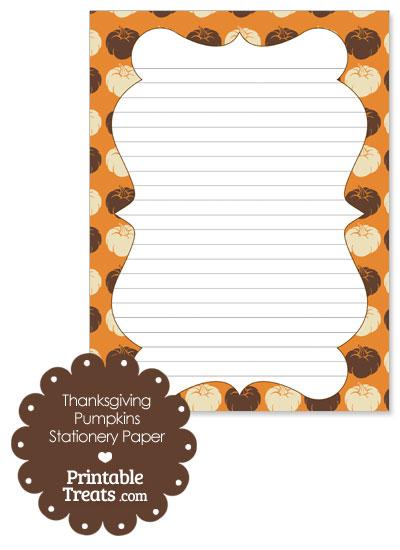 Thanksgiving Pumpkins Stationery Paper from PrintableTreats.com