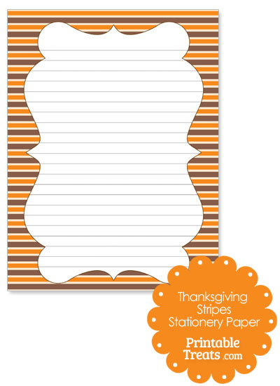 Thanksgiving Stripes Stationery Paper from PrintableTreats.com