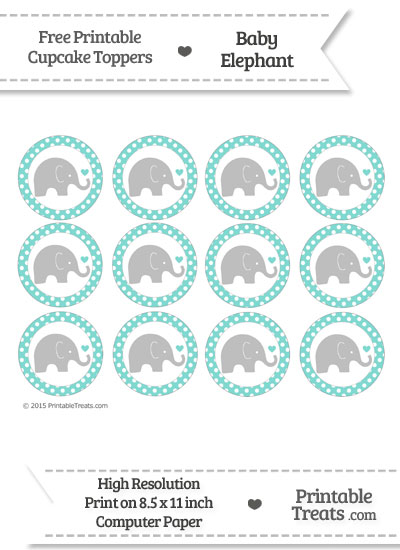 Tiffany Blue Polka Dot Baby Elephant Cupcake Toppers from PrintableTreats.com