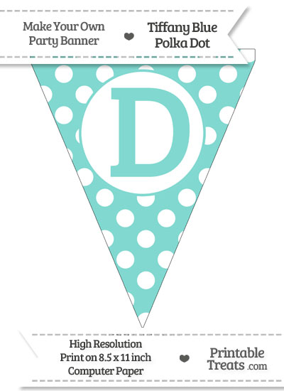 Tiffany Blue Polka Dot Pennant Flag Capital Letter D from PrintableTreats.com
