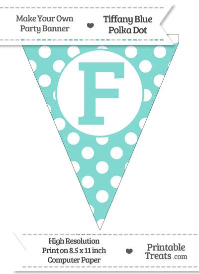 Tiffany Blue Polka Dot Pennant Flag Capital Letter F from PrintableTreats.com