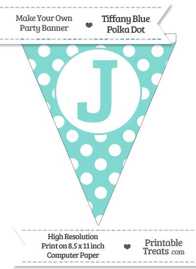 Tiffany Blue Polka Dot Pennant Flag Capital Letter J from PrintableTreats.com