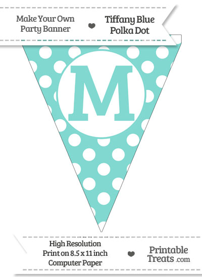 Tiffany Blue Polka Dot Pennant Flag Capital Letter M from PrintableTreats.com