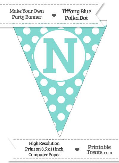 Tiffany Blue Polka Dot Pennant Flag Capital Letter N from PrintableTreats.com