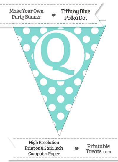 Tiffany Blue Polka Dot Pennant Flag Capital Letter Q from PrintableTreats.com