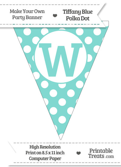 Tiffany Blue Polka Dot Pennant Flag Capital Letter W from PrintableTreats.com