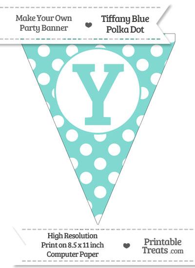 Tiffany Blue Polka Dot Pennant Flag Capital Letter Y from PrintableTreats.com
