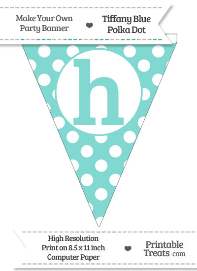 Tiffany Blue Polka Dot Pennant Flag Lowercase Letter H from PrintableTreats.com