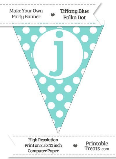 Tiffany Blue Polka Dot Pennant Flag Lowercase Letter J from PrintableTreats.com
